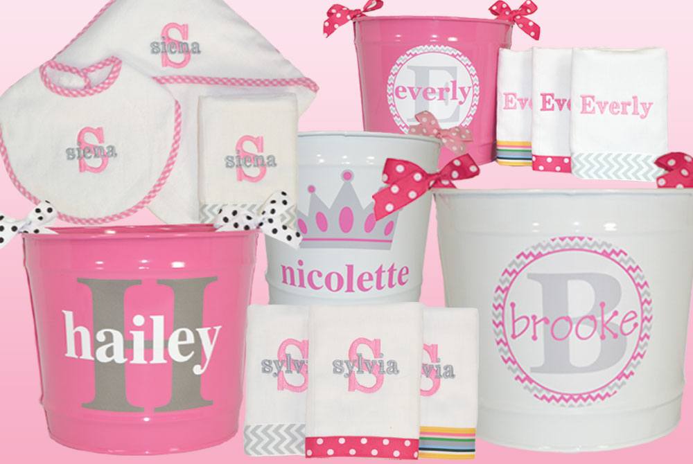 Personalized Baby Gifts In Pink And Grey Are Hot Hot Hot Baby